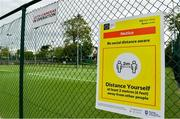 15 May 2020; Social distancing signage at Malahide Lawn Tennis and Croquet Club in Dublin as it prepares to re-open as one of the first sports allowed to resume having followed previous directives from the Irish Government on suspending all tennis activity in an effort to contain the spread of the Coronavirus (COVID-19). Tennis clubs in the Republic of Ireland can resume activity from May 18th under the Irish government's Roadmap for Reopening of Society and Business once they follow the protocol published by Tennis Ireland. The protocol sets out safe measures for tennis to return in a phased manner. Photo by Brendan Moran/Sportsfile