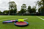 15 May 2020; Tennis racquets and tennis balls at Malahide Lawn Tennis and Croquet Club in Dublin as it prepares to re-open as one of the first sports allowed to resume having followed previous directives from the Irish Government on suspending all tennis activity in an effort to contain the spread of the Coronavirus (COVID-19). Tennis clubs in the Republic of Ireland can resume activity from May 18th under the Irish government's Roadmap for Reopening of Society and Business once they follow the protocol published by Tennis Ireland. The protocol sets out safe measures for tennis to return in a phased manner. Photo by Brendan Moran/Sportsfile