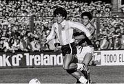16 May 1980; Diego Maradona of Argentina in action against Chris Hughton of Republic of Ireland during the International Friendly match between Republic of Ireland and Argentina at Lansdowne Road in Dublin. Photo by Ray McManus/Sportsfile