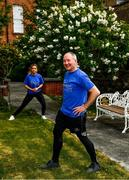 16 May 2020; Freeman of Dublin and former Dublin senior men's team manager Jim Gavin and Dublin footballer and secretary of The Dublin Neurological Institute Rebecca McDonnell warm up prior to The Dublin Neurological Institute 150km Frontline Run. The DNI is a registered charity where we care for patients with neurological diseases including Parkinson, Epilepsy, Motor Neuron Disease, Multiple Sclerosis, Headache, Stroke and many more is holding hold a fundraising run with staff members running this weekend to raise much needed funds. The goal is to run 150km between staff over the course of Saturday 16th and Sunday 17th May. Donations can be made at https://tinyurl.com/yd3a4d8d . The run can be tracked using the free app 'Map My Run' and anyone who wishes to join in the run is very welcome. Photo by Ray McManus/Sportsfile