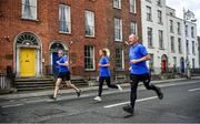 16 May 2020; Freeman of Dublin and former Dublin senior men's team manager Jim Gavin, Dublin footballer and secretary of The Dublin Neurological Institute Rebecca McDonnell and Professor Tim Lynch pictured during The Dublin Neurological Institute 150km Frontline Run. The DNI is a registered charity where we care for patients with neurological diseases including Parkinson, Epilepsy, Motor Neuron Disease, Multiple Sclerosis, Headache, Stroke and many more is holding hold a fundraising run with staff members running this weekend to raise much needed funds. The goal is to run 150km between staff over the course of Saturday 16th and Sunday 17th May. Donations can be made at https://tinyurl.com/yd3a4d8d . The run can be tracked using the free app 'Map My Run' and anyone who wishes to join in the run is very welcome. Photo by Ray McManus/Sportsfile