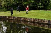 18 May 2020; Club members from left, Aidan Foy, from Clontarf, Paul McMahon, from Raheny and Brendan Foy, from Clontarf, make their way to the 12th green during a round of golf at Clontarf Golf Club in Dublin as it resumes having previously suspended all activity following directives from the Irish Government in an effort to contain the spread of the Coronavirus (COVID-19). Golf clubs in the Republic of Ireland resumed activity on May 18th under the Irish government's Roadmap for Reopening of Society and Business following strict protocols of social distancing and hand sanitisation among others allowing it to return in a phased manner. Photo by Sam Barnes/Sportsfile