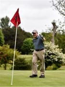 18 May 2020; Club member Jim Billett from Clontarf celebrates a birdie putt on the 5th during a round of golf at Clontarf Golf Club in Dublin as it resumes having previously suspended all activity following directives from the Irish Government in an effort to contain the spread of the Coronavirus (COVID-19). Golf clubs in the Republic of Ireland resumed activity on May 18th under the Irish government's Roadmap for Reopening of Society and Business following strict protocols of social distancing and hand sanitisation among others allowing it to return in a phased manner. Photo by Sam Barnes/Sportsfile
