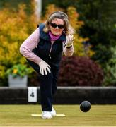 18 May 2020; Club member Lynne Foy from Clontarf participates in lawn bowling at Clontarf Bowling Club in Dublin as it resumes having previously suspended all activity following directives from the Irish Government in an effort to contain the spread of the Coronavirus (COVID-19). Lawn bowling clubs in the Republic of Ireland resumed activity on May 18th under the Irish government's Roadmap for Reopening of Society and Business following strict protocols of social distancing and hand sanitisation among others allowing it to return in a phased manner. Photo by Sam Barnes/Sportsfile