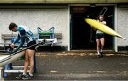18 May 2020; Mikey Campion of Commercial Rowing Club prepares his boat, left, as club-mate Ed Meehan leaves the clubhouse prior to training on the River Liffey in Dublin as it resumes having previously suspended all activity following directives from the Irish Government in an effort to contain the spread of the Coronavirus (COVID-19). Rowing clubs in the Republic of Ireland resumed activity on May 18th under the Irish government's Roadmap for Reopening of Society and Business following strict protocols of social distancing and hand sanitisation among others allowing it to return in a phased manner. Photo by Harry Murphy/Sportsfile
