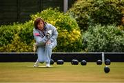 18 May 2020; Club member Margaret McLoughlin, from Clontarf, participates in lawn bowling at Clontarf Bowling Club in Dublin as it resumes having previously suspended all activity following directives from the Irish Government in an effort to contain the spread of the Coronavirus (COVID-19). Lawn bowling clubs in the Republic of Ireland resumed activity on May 18th under the Irish government's Roadmap for Reopening of Society and Business following strict protocols of social distancing and hand sanitisation among others allowing it to return in a phased manner. Photo by Sam Barnes/Sportsfile