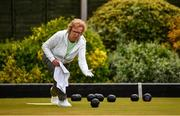 18 May 2020; Club member Ann O'Reilly from Clontarf participates in lawn bowling at Clontarf Bowling Club in Dublin as it resumes having previously suspended all activity following directives from the Irish Government in an effort to contain the spread of the Coronavirus (COVID-19). Lawn bowling clubs in the Republic of Ireland resumed activity on May 18th under the Irish government's Roadmap for Reopening of Society and Business following strict protocols of social distancing and hand sanitisation among others allowing it to return in a phased manner. Photo by Sam Barnes/Sportsfile