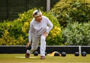 18 May 2020; Club member Madge Lynch, from Glasnevin, participates in lawn bowling at Clontarf Bowling Club in Dublin as it resumes having previously suspended all activity following directives from the Irish Government in an effort to contain the spread of the Coronavirus (COVID-19). Lawn bowling clubs in the Republic of Ireland resumed activity on May 18th under the Irish government's Roadmap for Reopening of Society and Business following strict protocols of social distancing and hand sanitisation among others allowing it to return in a phased manner. Photo by Sam Barnes/Sportsfile