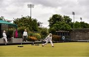 18 May 2020; Club members, from right, Madge Lynch, from Glasnevin, Ann O'Reilly, from Clontarf, and Gretta Hardy, from Raheny, participate in lawn bowling at Clontarf Bowling Club in Dublin as it resumes having previously suspended all activity following directives from the Irish Government in an effort to contain the spread of the Coronavirus (COVID-19). Lawn bowling clubs in the Republic of Ireland resumed activity on May 18th under the Irish government's Roadmap for Reopening of Society and Business following strict protocols of social distancing and hand sanitisation among others allowing it to return in a phased manner. Photo by Sam Barnes/Sportsfile