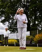 18 May 2020; Club member Madge Lynch, from Glasnevin, celebrates a bowl whilst participating in lawn bowling at Clontarf Bowling Club in Dublin as it resumes having previously suspended all activity following directives from the Irish Government in an effort to contain the spread of the Coronavirus (COVID-19). Lawn bowling clubs in the Republic of Ireland resumed activity on May 18th under the Irish government's Roadmap for Reopening of Society and Business following strict protocols of social distancing and hand sanitisation among others allowing it to return in a phased manner. Photo by Sam Barnes/Sportsfile