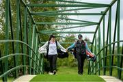 18 May 2020; Irish professional golfer Leona Maguire, left, and and her twin sister and former professional golfer Lisa Maguire during a round of golf at Slieve Russell Golf Club in Cavan as it resumes having previously suspended all activity following directives from the Irish Government in an effort to contain the spread of the Coronavirus (COVID-19). Golf clubs in the Republic of Ireland resumed activity on May 18th under the Irish government's Roadmap for Reopening of Society and Business following strict protocols of social distancing and hand sanitisation among others allowing it to return in a phased manner. Photo by Ramsey Cardy/Sportsfile