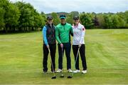 18 May 2020; Irish professional golfer Leona Maguire, right, her twin sister and former professional Lisa Maguire, left, and brother Odhrán Maguire take part in a round of golf at Slieve Russell Golf Club in Cavan as it resumes having previously suspended all activity following directives from the Irish Government in an effort to contain the spread of the Coronavirus (COVID-19). Golf clubs in the Republic of Ireland resumed activity on May 18th under the Irish government's Roadmap for Reopening of Society and Business following strict protocols of social distancing and hand sanitisation among others allowing it to return in a phased manner. Photo by Ramsey Cardy/Sportsfile
