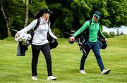 18 May 2020; Irish professional golfer Leona Maguire and her brother Odhrán Maguire take part in a round of golf at Slieve Russell Golf Club in Cavan as it resumes having previously suspended all activity following directives from the Irish Government in an effort to contain the spread of the Coronavirus (COVID-19). Golf clubs in the Republic of Ireland resumed activity on May 18th under the Irish government's Roadmap for Reopening of Society and Business following strict protocols of social distancing and hand sanitisation among others allowing it to return in a phased manner. Photo by Ramsey Cardy/Sportsfile