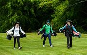 18 May 2020; Irish professional golfer Leona Maguire, left, her twin sister and former professional Lisa Maguire, right, and brother Odhrán Maguire take part in a round of golf at Slieve Russell Golf Club in Cavan as it resumes having previously suspended all activity following directives from the Irish Government in an effort to contain the spread of the Coronavirus (COVID-19). Golf clubs in the Republic of Ireland resumed activity on May 18th under the Irish government's Roadmap for Reopening of Society and Business following strict protocols of social distancing and hand sanitisation among others allowing it to return in a phased manner. Photo by Ramsey Cardy/Sportsfile