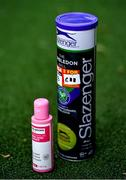 18 May 2020; Hand sanitising gel is seen next to tennis balls at Lansdowne Lawn Tennis Club in Dublin as tennis resumes having previously suspended all tennis activity following directives from the Irish Government in an effort to contain the spread of the Coronavirus (COVID-19). Tennis clubs in the Republic of Ireland resumed activity on May 18th under the Irish government's Roadmap for Reopening of Society and Business following strict protocols of social distancing, hand sanitisation and marked tennis balls among others allowing tennis to return in a phased manner. Photo by Brendan Moran/Sportsfile