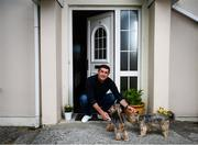 20 May 2020; Derry City manager Declan Devine, accompanied by his dogs Belle and Bobbie, at his home in Bridgend, Donegal. Photo by Stephen McCarthy/Sportsfile