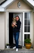 20 May 2020; Derry City manager Declan Devine, accompanied by his dog Belle, at his home in Bridgend, Donegal. Photo by Stephen McCarthy/Sportsfile