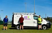 24 May 2020; Muirhevnamor Football Club are hosting a Charity run/walk for 24 hours from midnight on Saturday 23rd to midnight 24th May, with the last 30 minute leg beginning at 11.30pm on Sunday 24th, in an attempt to raise awareness and funds for a great cause, Cuidigh Linn, who are helping the elderly in the community through the Coronavirus (Covid-19) pandemic and the club would like to give them as much help as possible. Participants either run or walk for 30 minutes throughout the day. Donations can be made at https://www.gofundme.com/f/run-24-with-muirhevna-mor. Kevin Meenan, left, Dundalk FC head coach Vinny Perth, centre, and Deputy Ruairí Ó Murchú, TD, pictured at the Dundalk Sports Centre in Muirhevnamor, Dundalk. Photo by Ben McShane/Sportsfile