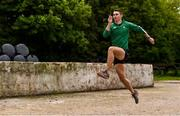 27 May 2020; Irish Long Jump athlete Shane Howard of Bandon AC, Cork, warms up ahead of a training session at the family farm in Rathcormac, Cork, while adhering to the guidelines of social distancing set down by the Health Service Executive. Following directives from the Irish Government and the Department of Health the majority of the country's sporting associations have suspended all organised sporting activity in an effort to contain the spread of the Coronavirus (COVID-19). As a result of these restrictions, Shane is unable to travel to his usual training facility at CIT. Photo by Sam Barnes/Sportsfile