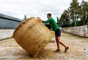 27 May 2020; Irish Long Jump athlete Shane Howard of Bandon AC, Cork, prepares for a training session at the family farm in Rathcormac, Cork, while adhering to the guidelines of social distancing set down by the Health Service Executive. Following directives from the Irish Government and the Department of Health the majority of the country's sporting associations have suspended all organised sporting activity in an effort to contain the spread of the Coronavirus (COVID-19). As a result of these restrictions, Shane is unable to travel to his usual training facility at CIT. Photo by Sam Barnes/Sportsfile