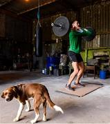27 May 2020; Irish Long Jump athlete Shane Howard of Bandon AC, Cork, and his dog Baxter, during a training session at the family farm in Rathcormac, Cork, while adhering to the guidelines of social distancing set down by the Health Service Executive. Following directives from the Irish Government and the Department of Health the majority of the country's sporting associations have suspended all organised sporting activity in an effort to contain the spread of the Coronavirus (COVID-19). As a result of these restrictions, Shane is unable to travel to his usual training facility at CIT. Photo by Sam Barnes/Sportsfile
