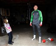 28 May 2020; Boxer Jason Quigley poses for a portrait alongside his partners daughter Sierra, age 9, during a training session in Ballybofey, Donegal, while adhering to the guidelines of social distancing. Following directives from the Irish Government, the majority of sporting associations have suspended all organised sporting activity in an effort to contain the spread of the Coronavirus (COVID-19) pandemic. Photo by Stephen McCarthy/Sportsfile
