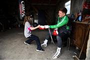 28 May 2020; Boxer Jason Quigley and his partner's daughter Sierra, age 9, during a training session in Ballybofey, Donegal, while adhering to the guidelines of social distancing. Following directives from the Irish Government, the majority of sporting associations have suspended all organised sporting activity in an effort to contain the spread of the Coronavirus (COVID-19) pandemic. Photo by Stephen McCarthy/Sportsfile