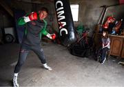 28 May 2020; Boxer Jason Quigley and his partners daughter Sierra, age 9, during a training session in Ballybofey, Donegal, while adhering to the guidelines of social distancing. Following directives from the Irish Government, the majority of sporting associations have suspended all organised sporting activity in an effort to contain the spread of the Coronavirus (COVID-19) pandemic. Photo by Stephen McCarthy/Sportsfile