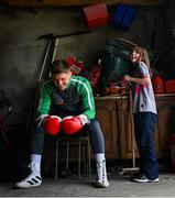 28 May 2020; Boxer Jason Quigley and Sierra, age 9, during a training session in Ballybofey, Donegal, while adhering to the guidelines of social distancing. Following directives from the Irish Government, the majority of sporting associations have suspended all organised sporting activity in an effort to contain the spread of the Coronavirus (COVID-19) pandemic. Photo by Stephen McCarthy/Sportsfile