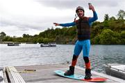 2 June 2020; Irish Professional Wakeboarder David O'Caoimh films content for social media ahead of a training session at Ballyhass Wake Park in Cork while adhering to the guidelines of social distancing. Following directives from the Irish Government, the majority of sporting associations have suspended all organised sporting activity in an effort to contain the spread of the Coronavirus (COVID-19) pandemic. Photo by Sam Barnes/Sportsfile