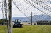 4 June 2020; Groundsman Austin Kinsella attends to the pitch at Fenagh GAA Club in Carlow while adhering to the guidelines of social distancing set down by the Health Service Executive. Following directives from the Irish Government and the Department of Health the majority of the country's sporting associations have suspended all organised sporting activity in an effort to contain the spread of the Coronavirus (COVID-19). GAA facilities are to remain closed as part of efforts to prevent gatherings which breach the restrictions. These measures are expected to remain in place until July 20. Photo by David Fitzgerald/Sportsfile