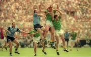 30 July 1995; John McDermott, centre, and PJ Gillic of Meath in action against Brian Stynes and Keith Barr, left, of Dublin during the Bank of Ireland Leinster Senior Football Championship Final match between Dublin and Meath at Croke Park in Dublin. Photo by Ray McManus/Sportsfile