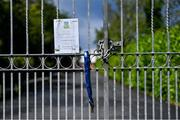 5 June 2020; A general view of the gate outside Celbridge GAA in Kildare as GAA clubs prepare for the relaxation of restrictions under Phase 2 of the Irish Government's Roadmap for Reopening of Society and Business which call for strict protocols of social distancing and hand sanitisation among others measures allowing sections of society to return in a phased manner in an effort to contain the spread of the Coronavirus (COVID-19). GAA facilities are to open on Monday June 8 for the first time since March 25 but for recreational walking only and team training or matches are not permitted at this time. Photo by Piaras Ó Mídheach/Sportsfile