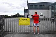 5 June 2020; Tadhg Mác Cárthaigh, member of Ardclough GAA in Kildare, outside the club grounds after he trained nearby as GAA clubs prepare for the relaxation of restrictions under Phase 2 of the Irish Government's Roadmap for Reopening of Society and Business which call for strict protocols of social distancing and hand sanitisation among others measures allowing sections of society to return in a phased manner in an effort to contain the spread of the Coronavirus (COVID-19). GAA facilities are to open on Monday June 8 for the first time since March 25 but for recreational walking only and team training or matches are not permitted at this time. Photo by Piaras Ó Mídheach/Sportsfile