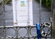 5 June 2020; A general view of the gate outside Celbridge GAA in Kildare as GAA clubs prepare for the relaxation of restrictions under Phase 2 of the Irish Government's Roadmap for Reopening of Society and Business which call for strict protocols of social distancing and hand sanitisation among others measures allowing sections of society to return in a phased manner in an effort to contain the spread of the Coronavirus (COVID-19). GAA facilities are to open on Monday June 8 for the first time since March 25 but for recreational walkingonly and team training or matches are not permitted at this time. Photo by Piaras Ó Mídheach/Sportsfile