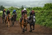 7 June 2020; Niamh Barry on Guttrel and Luke Cummings on Kenito on the gallops during a Joseph O'Brien Yard Visit at Owning Hill in Kilkenny. Horse racing is due to return to Ireland behind closed doors on June 8, after racing was suspended in an effort to contain the spread of the Coronavirus (COVID-19) pandemic. Photo by Harry Murphy/Sportsfile