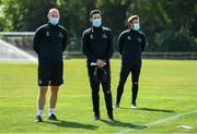8 June 2020; Shamrock Rovers manager Stephen Bradley, centre, alongside coach Glenn Cronin, left, and sporting director Stephen McPhail, right, during a Shamrock Rovers training session at Roadstone Group Sports Club in Dublin. Following approval from the Football Association of Ireland and the Irish Government, the four European qualified SSE Airtricity League teams resumed collective training. On March 12, the FAI announced the cessation of all football under their jurisdiction upon directives from the Irish Government, the Department of Health and UEFA, due to the outbreak of the Coronavirus (COVID-19) pandemic. Photo by Seb Daly/Sportsfile