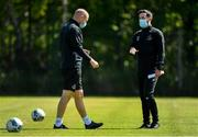 8 June 2020; Shamrock Rovers manager Stephen Bradley, right, and coach Glenn Cronin during a Shamrock Rovers training session at Roadstone Group Sports Club in Dublin. Following approval from the Football Association of Ireland and the Irish Government, the four European qualified SSE Airtricity League teams resumed collective training. On March 12, the FAI announced the cessation of all football under their jurisdiction upon directives from the Irish Government, the Department of Health and UEFA, due to the outbreak of the Coronavirus (COVID-19) pandemic. Photo by Seb Daly/Sportsfile