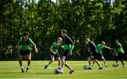 8 June 2020; Roberto Lopes, left, and Joey O'Brien during a Shamrock Rovers training session at Roadstone Group Sports Club in Dublin. Following approval from the Football Association of Ireland and the Irish Government, the four European qualified SSE Airtricity League teams resumed collective training. On March 12, the FAI announced the cessation of all football under their jurisdiction upon directives from the Irish Government, the Department of Health and UEFA, due to the outbreak of the Coronavirus (COVID-19) pandemic. Photo by Seb Daly/Sportsfile