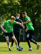8 June 2020; Shamrock Rovers sporting director Stephen McPhail watches over Rhys Marshall, left, and Danny Lafferty during a Shamrock Rovers training session at Roadstone Group Sports Club in Dublin. Following approval from the Football Association of Ireland and the Irish Government, the four European qualified SSE Airtricity League teams resumed collective training. On March 12, the FAI announced the cessation of all football under their jurisdiction upon directives from the Irish Government, the Department of Health and UEFA, due to the outbreak of the Coronavirus (COVID-19) pandemic. Photo by Seb Daly/Sportsfile
