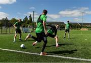 8 June 2020; Shamrock Rovers players, from left, Liam Scales, Danny Lafferty, Joey O'Brien and Rhys Mashall during a Shamrock Rovers training session at Roadstone Group Sports Club in Dublin. Following approval from the Football Association of Ireland and the Irish Government, the four European qualified SSE Airtricity League teams resumed collective training. On March 12, the FAI announced the cessation of all football under their jurisdiction upon directives from the Irish Government, the Department of Health and UEFA, due to the outbreak of the Coronavirus (COVID-19) pandemic. Photo by Seb Daly/Sportsfile