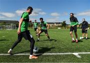 8 June 2020; Shamrock Rovers players, from left, Danny Lafferty, Rhys Mashall, Roberto Lopes, Joey O'Brien and coach Glenn Cronin during a Shamrock Rovers training session at Roadstone Group Sports Club in Dublin. Following approval from the Football Association of Ireland and the Irish Government, the four European qualified SSE Airtricity League teams resumed collective training. On March 12, the FAI announced the cessation of all football under their jurisdiction upon directives from the Irish Government, the Department of Health and UEFA, due to the outbreak of the Coronavirus (COVID-19) pandemic. Photo by Seb Daly/Sportsfile