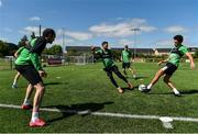 8 June 2020; Shamrock Rovers players, from left, Joey O'Brien, Danny Lafferty, Rhys Marshall and Roberto Lopes during a Shamrock Rovers training session at Roadstone Group Sports Club in Dublin. Following approval from the Football Association of Ireland and the Irish Government, the four European qualified SSE Airtricity League teams resumed collective training. On March 12, the FAI announced the cessation of all football under their jurisdiction upon directives from the Irish Government, the Department of Health and UEFA, due to the outbreak of the Coronavirus (COVID-19) pandemic. Photo by Seb Daly/Sportsfile
