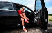 8 June 2020; Conor Clifford changes from his boots in his car following a Derry City training session at Aileach FC in Burnfoot, Donegal. Following approval from the Football Association of Ireland and the Irish Government, the four European qualified SSE Airtricity League teams resumed collective training. On March 12, the FAI announced the cessation of all football under their jurisdiction upon directives from the Irish Government, the Department of Health and UEFA, due to the outbreak of the Coronavirus (COVID-19) pandemic. Photo by Stephen McCarthy/Sportsfile