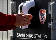 8 June 2020; A detailed view of a player using a sanitising station prior to a Derry City training session at Aileach FC in Burnfoot, Donegal. Following approval from the Football Association of Ireland and the Irish Government, the four European qualified SSE Airtricity League teams resumed collective training. On March 12, the FAI announced the cessation of all football under their jurisdiction upon directives from the Irish Government, the Department of Health and UEFA, due to the outbreak of the Coronavirus (COVID-19) pandemic. Photo by Stephen McCarthy/Sportsfile