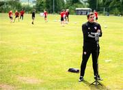8 June 2020; Manager Declan Devine speaks to BBC during a Derry City training session at Aileach FC in Burnfoot, Donegal. Following approval from the Football Association of Ireland and the Irish Government, the four European qualified SSE Airtricity League teams resumed collective training. On March 12, the FAI announced the cessation of all football under their jurisdiction upon directives from the Irish Government, the Department of Health and UEFA, due to the outbreak of the Coronavirus (COVID-19) pandemic. Photo by Stephen McCarthy/Sportsfile