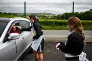 8 June 2020; Patrick Ferry has his temperature taken by physiotherapist Michael Hegarty and physiotherapist Katy Holly during a Derry City training session at Aileach FC in Burnfoot, Donegal. Following approval from the Football Association of Ireland and the Irish Government, the four European qualified SSE Airtricity League teams resumed collective training. On March 12, the FAI announced the cessation of all football under their jurisdiction upon directives from the Irish Government, the Department of Health and UEFA, due to the outbreak of the Coronavirus (COVID-19) pandemic. Photo by Stephen McCarthy/Sportsfile