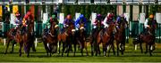 8 June 2020; The runners and riders, including eventual winner Punita Arora, far left, with Shane Foley up, leave the starting stalls in the Kuroshio At Compas Stallions Committed Stakes at Naas Races in Kildare. Horse racing has been allowed to resume on June 8 under the Irish Government's Roadmap for Reopening of Society and Business following strict protocols of social distancing and hand sanitisation among others allowing it to return in a phased manner, having been suspended from March 25 due to the Irish Government's efforts to contain the spread of the Coronavirus (COVID-19) pandemic. Photo by Ray McManus/Sportsfile