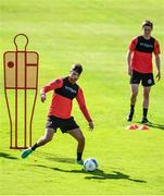 8 June 2020; Danny Mandroiu, left, during a Bohemian FC training session at Dalymount Park in Dublin. Following approval from the Football Association of Ireland and the Irish Government, the four European qualified SSE Airtricity League teams resumed collective training. On March 12, the FAI announced the cessation of all football under their jurisdiction upon directives from the Irish Government, the Department of Health and UEFA, due to the outbreak of the Coronavirus (COVID-19) pandemic. Photo by Sam Barnes/Sportsfile