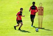 8 June 2020; Conor Levingstone, left, during a Bohemian FC training session at Dalymount Park in Dublin. Following approval from the Football Association of Ireland and the Irish Government, the four European qualified SSE Airtricity League teams resumed collective training. On March 12, the FAI announced the cessation of all football under their jurisdiction upon directives from the Irish Government, the Department of Health and UEFA, due to the outbreak of the Coronavirus (COVID-19) pandemic. Photo by Sam Barnes/Sportsfile